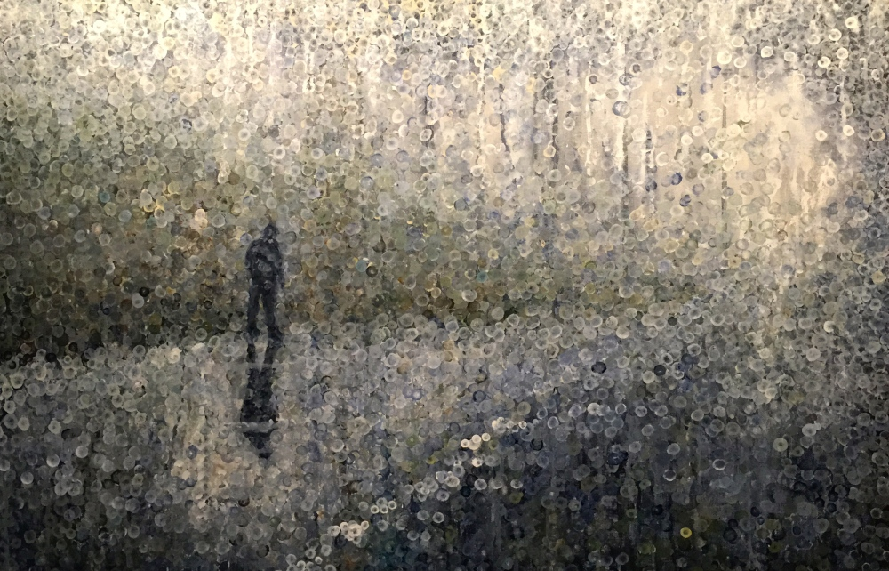 Walking into the fog acrylic painting