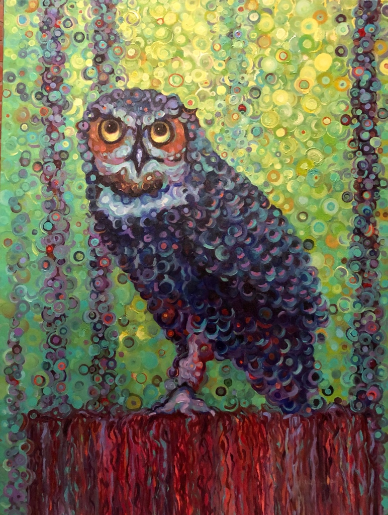 Owl nigh watcher Bird original painting